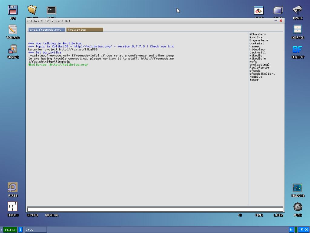 KolibriOS - klient IRC