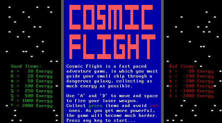 Gra: Cosmic Flight