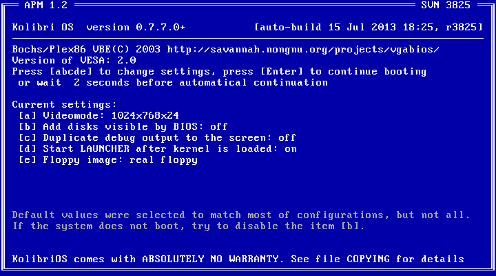 KolibriOS - bootowanie